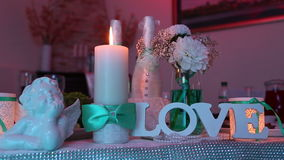 Wedding decor on table stock video