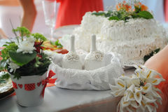 Wedding decor on the table with flowers and bells Stock Photo