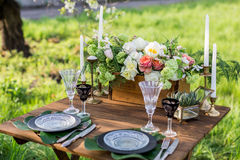 Wedding decor. Table for the newlyweds Stock Photography