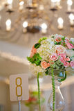 Wedding decor table setting and flowers. With linens Royalty Free Stock Photo