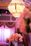 Wedding decor table setting and flowers. With linens Stock Images