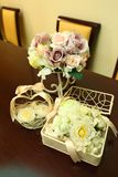 Wedding decor table setting and flowers.  Stock Images