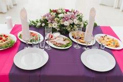 Wedding decor table Royalty Free Stock Image