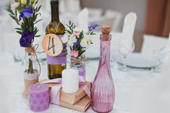 Wedding decor table. Setting and flowers Stock Photo