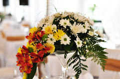 Wedding decor table setting and flowers. With linens Stock Photo