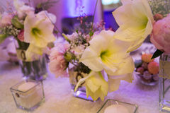 Wedding decor table setting and flowers. With linens Royalty Free Stock Image