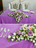 Wedding decor table setting and flowers. Set wedding decor table setting and flowers Royalty Free Stock Photography