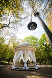 Wedding decor trends. gazebo, summer house in the wedding decor, in the middle of the park. Wedding decor arch. gazebo, summer house in the wedding decor, in the Stock Photography