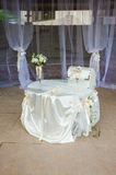 Wedding decor trends. Wedding decor table and gift box Royalty Free Stock Photography