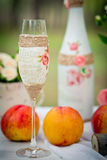 Wedding decor with wedding glass in style of a shabby chic, bott Stock Photography
