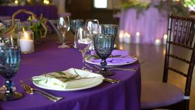 Wedding decor. Wedding interior. Table layout concept. Table decor of newly married. Restaurant interior. Expectation of