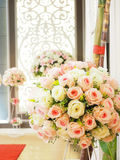 Wedding decorate with artificial flowers Royalty Free Stock Photography