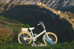 Wedding Decorated Bicycle Royalty Free Stock Photo