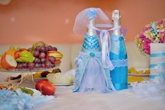 Wedding decorated bottles of champagne Stock Photos