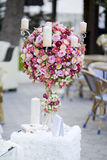 Wedding decorated candelabrum Royalty Free Stock Images