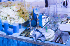 Wedding decorated resturant Royalty Free Stock Images