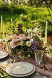 wedding decorated table, decor wedding dinner in nature in the garden royalty free stock photo