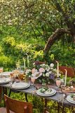 wedding decorated table, decor wedding dinner in nature in the garden royalty free stock images