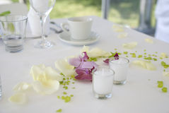 Wedding decoration. Table decoration for wedding party Royalty Free Stock Photos