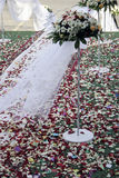 Wedding decoration. Flowers and petals. Wedding decoration outdoor stock photography