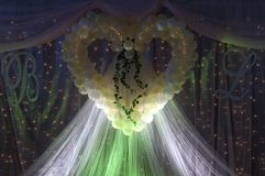 Wedding decoration. A beautiful wedding decoration in a restaurant royalty free stock images