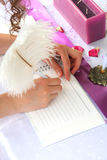 Wedding decoration. Pink notebook and a feather pen on a wedding guest table Stock Images