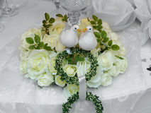 Wedding decoration. On a table at a wedding event Stock Photo