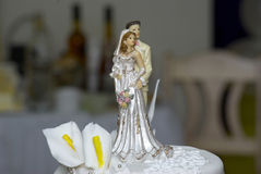 Wedding decoration. Wedding cake decoration -the  bride and the groom Stock Photo