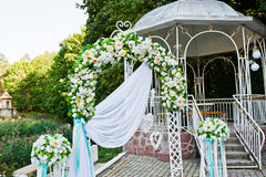 Wedding decoration with arch and table Stock Images