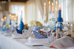 Wedding decoration for banquet. Wedding decor for banquet with candles Stock Images