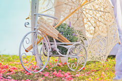 Wedding decoration of bicycle and umbrella Stock Images