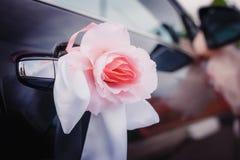 Wedding decoration on car Royalty Free Stock Image