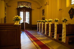 Wedding decoration church Royalty Free Stock Photos