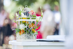 Wedding decoration. Colorful wedding decoration with flowers Stock Photo