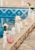 Wedding decoration. Wedding designer decoration in Greece style Royalty Free Stock Photo