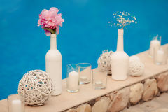 Wedding decoration. Wedding designer decoration in Greece style Royalty Free Stock Photography