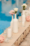 Wedding decoration. Wedding designer decoration in Greece style Royalty Free Stock Images