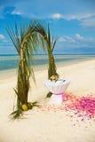 Wedding decoration. Flower decoration at the beach wedding venue Stock Image