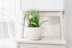 Wedding decoration with a flower. In a pot Royalty Free Stock Photos