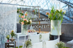Wedding decoration with flowers stock image
