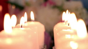 Wedding decoration with flowers and candles stock video footage