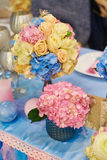 Wedding decoration of flowers on a festive table Royalty Free Stock Photo