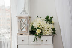 Wedding decoration. With flowers and lantern Royalty Free Stock Photo
