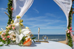 Wedding decoration of flowers and pens Stock Photo