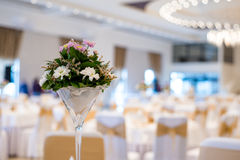 Wedding decoration with flowers. Restaurant Royalty Free Stock Images