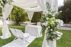 Wedding decoration in the garden. stock photography