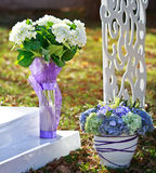 Wedding decoration in garden. Royalty Free Stock Photo