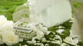 Wedding decoration on the grass stock video