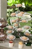 Wedding decoration, individual presentation of sweets and desserts royalty free stock images