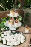 Wedding decoration, individual presentation of sweets and desserts royalty free stock photography